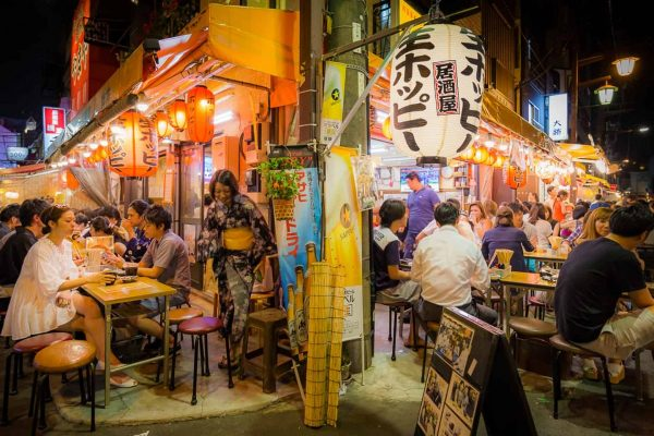 People eating outdoor in Asakusa at night