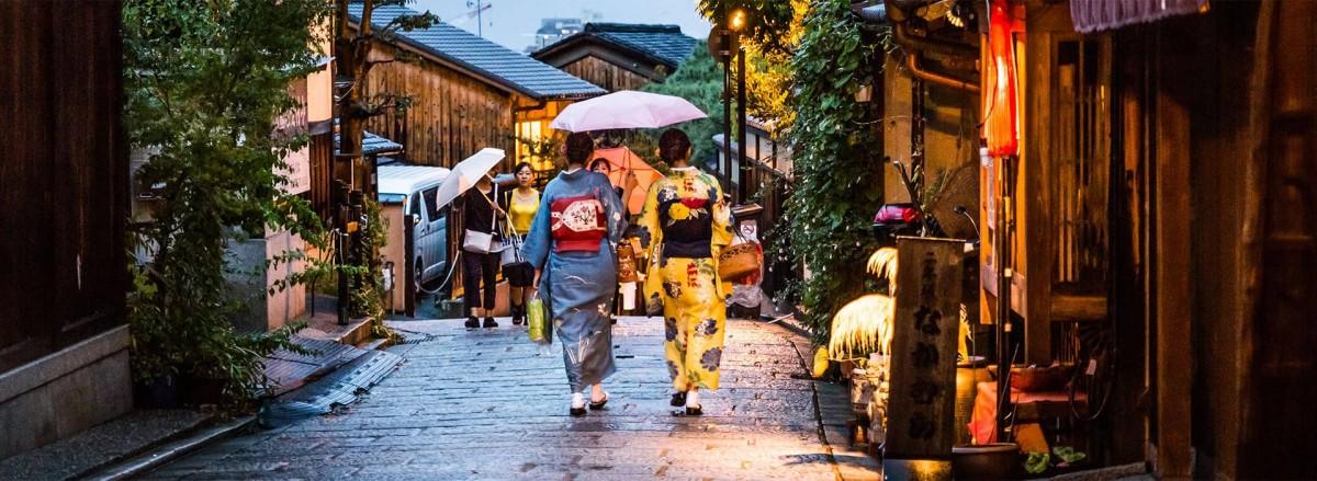 Kyoto street women walking kimono